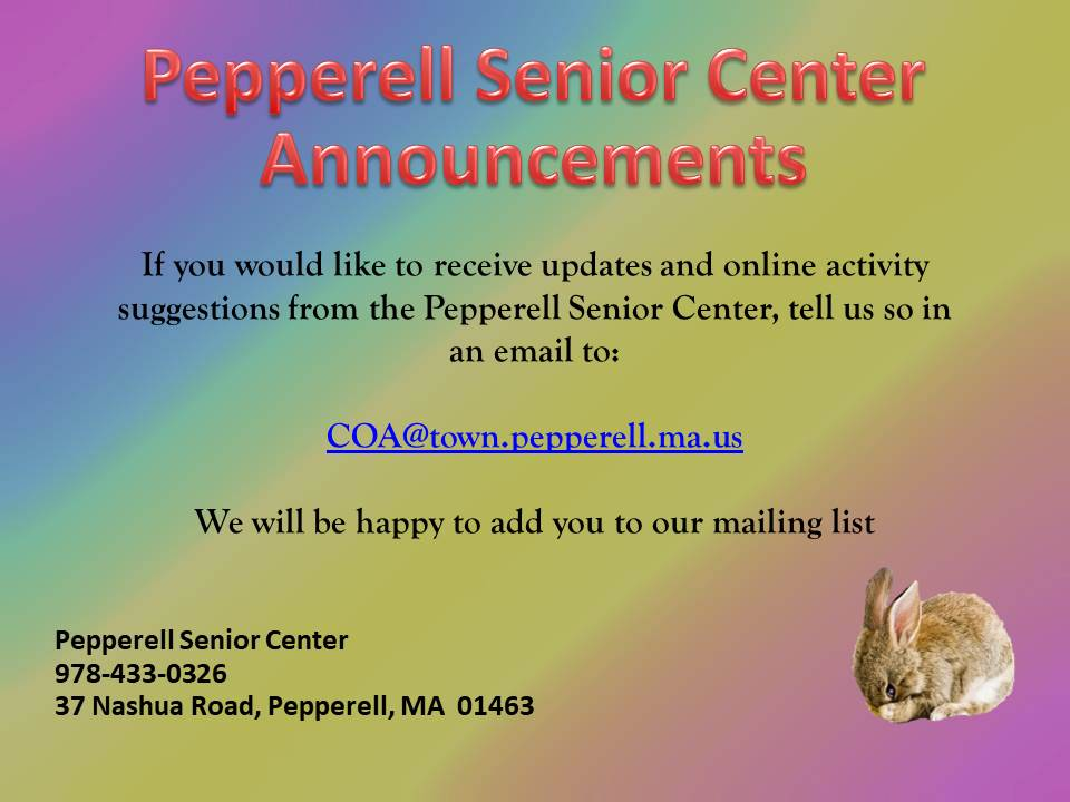 Senior Center Announcements