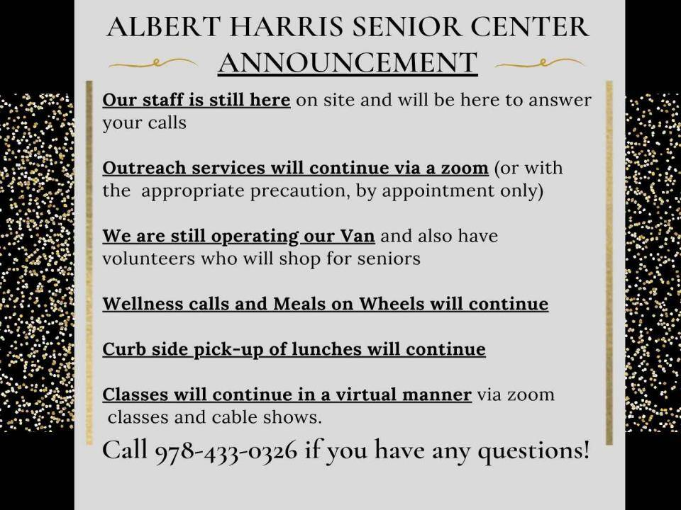 Senior Center Announcement til whenever